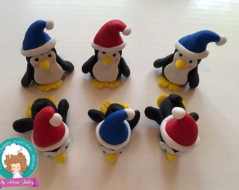 Penguins fondant cupcake topper