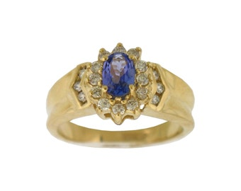 NATURAL Tanzanite Diamond Ring in 14K Yellow Gold !!! Free Shipping in The USA