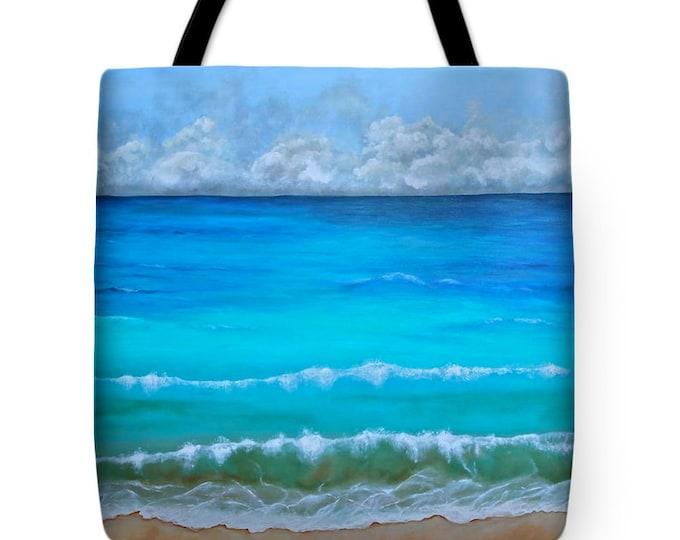 Beach tote bag, ocean bag, towel bag for beach, vacation bag,  original painting by Nancy Quiaoit at NancyQart
