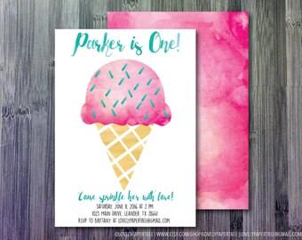 Ice Cream Birthday Invitation | KB10