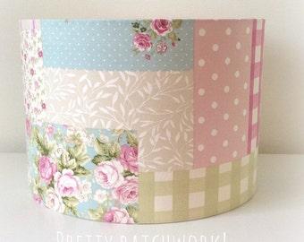 Handmade Vintage Patchwork Pink Fabric Drum Lampshade