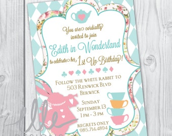 Digital Alice in Wonderland Party Invitation