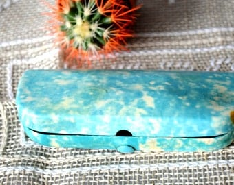 Vintage Eyeglass case, blue Celluloid Case, made in 1970s, Eyeglass holder, safety box, pencilbox, back to school