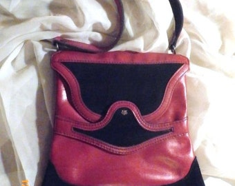 Vintage Purse John Romain Black Suede and Red LeatherSALE