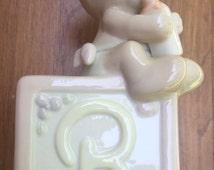 SALE Bank Enesco Precious Moments Baby Bank Teddy Bear on Toy Block 1990