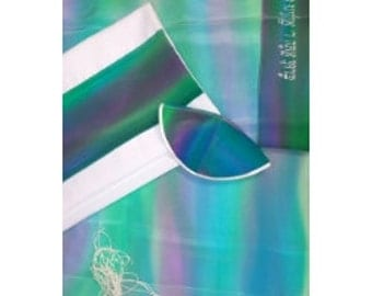 Crepe De Chin Silk Tallis in shades of Purple Blue and Green