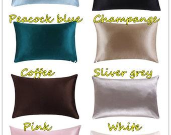 New 100% mulberry silk pillowcase  zipper pillowcases pillow case cover ,multicolor,size fits queen standard king pillow