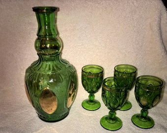 Vintage Green Glass Decanter with Four Glasses