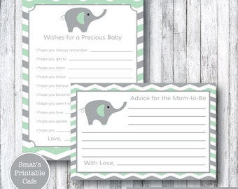 Mint & Gray Chevron Elephant Baby Shower Wishes Cards - Printable Baby Shower Advice Cards - Printable Baby Shower Games - Grey - Mint Green