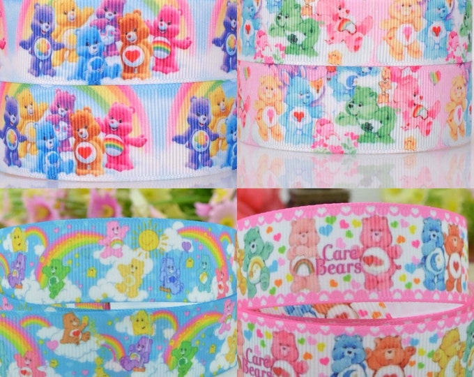 """Care Bears Grosgrain Ribbons 7/8"""" and 1""""  Widths Hairbows Cake Decoration Care Bears Birthday Party"""