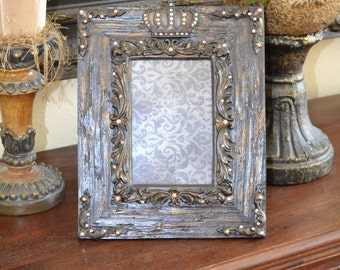 Embellished 4 X 6 Ornate Picture Frame w/Crown and Swarovski Crystal Accents