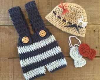 Crocheted fisherman set, photo prop, newborn photo prop, fisherman hat, baby gift, baby boy accessory, fishing
