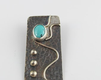 Turquoise Oxidized Sterling Pendant