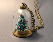 Tiny Christmas Tree Necklace, Glass Dome with Crystal Ornaments, Victorian Styled Miniature Mini Holiday Tree, 12 Days of Christmas