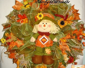 Moving Sale! - Fall Deco Mesh Wreath/Scarecrow Girl Mesh Wreath/Autumn Wreath/Autumn Decor/Scarecrow Wreath/Scarecrow Decor