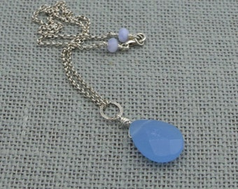 Chalcedony Teardrop + Sterling Silver Necklace
