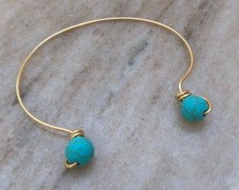 Turquoise gold cuff bracelet