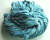 Sari Silk, Watercolor Blue Mix, Fair Trade, 5 Yards, Textile Fiber, Yarn, Crochet Yarn, Bracelet Ribbon, Silk Ribbon, Artwear Elements 124