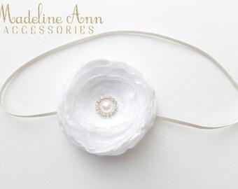 White Baptism Flower Headband, Baby Christening Headband, Pure White Satin Hair Flower with pearl, White Headband, Newborn Headband