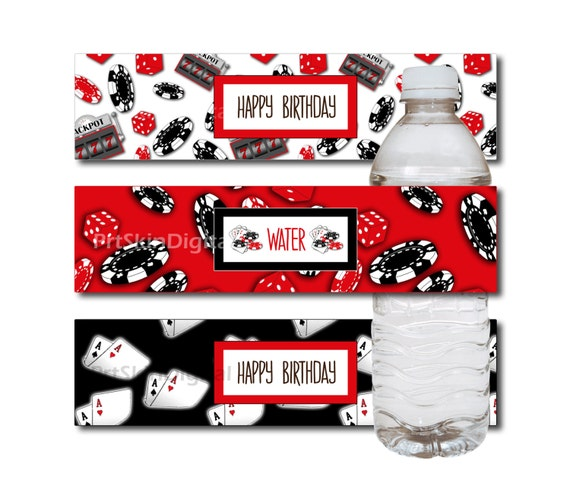 casino party water bottle label casino labels casino theme With casino water bottle labels