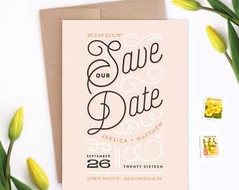 Wedding Save the Date - Billowy Delight - Card & Envelope