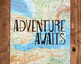 """France and Spain Map Print, Adventure Awaits, Great Travel Gift, 8"""" x 10"""" Letterpress Print"""