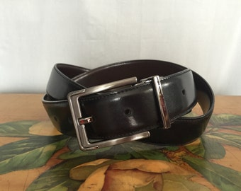 Black Leather Belt Vintage Silver Metal Buckle Men's size 38