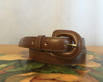 Brown Leather Skinny Belt Vintage