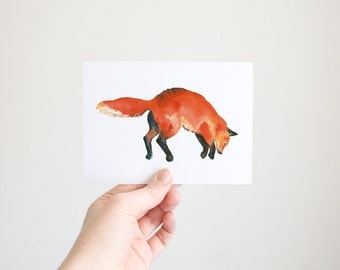 Fox Waterolour: Postcard