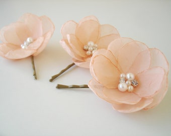 Peach Bridal Flower Hair Clips, Peach  Wedding Hair Accessory, Pearl Crystal Bobby Pins,  Bridesmaid  Flower Hair Pin
