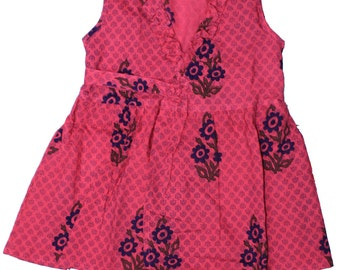 Cotton Hand Printed Frill Collar Rani Kids Wrap Around Dress For Girls Froke