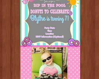Girl Summer Birthday Invitation - Donuts and Swimming Party - Donut Birthday Party - Pool Party Invitation - 7th Birthday Invite - Any Age