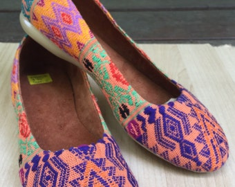 Hand embroidered slip on flats