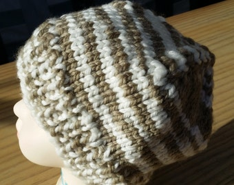 Beanie cup - white/brown - knitted - handmade - 10153