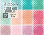 Mat Retro Dots // Polkadot Digital Paper // Instant Download // Commercial Use