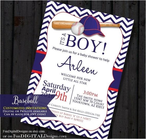 Baseball Baby Shower Invitation. Chevron Sports Baby Shower