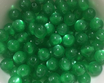 100 Round Green cats eyes beads, 8mm, necklace, bracelet, jewelry making