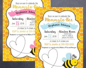 Printable Bumble Bee Baby Shower Invitation - Buzz - mommy to bee - boy or girl - 5x7