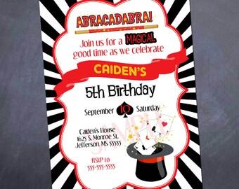 Printable Magic Birthday Invitation - Magic Show - Abracadabra - birthday