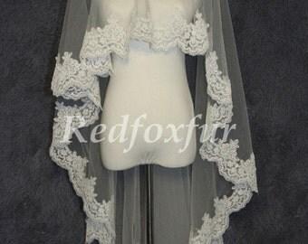Fingertip Length Wedding Veil Single Tier Veil Edged With Alencon Lace Bridal Veil