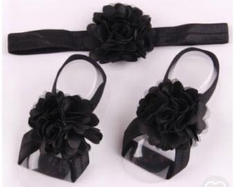 Newborn black headband with matching ribbon sandals!