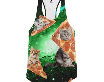Cat Pizza Galaxy Racerback Tank Top