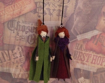 Authur and Molly Weasley Clothespin Doll Ornaments