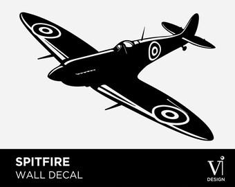 Spitfire Plane - Decorative Wall Art - Vinyl Graphic - Multiple Sizes & Colours