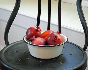 Vintage Enamelware Bowl, black and white