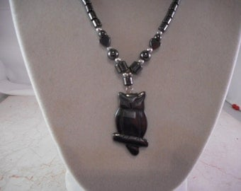 Beautiful Hematite Owl Necklace With Heart Shaped Beads 17 Inches Long