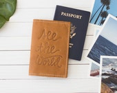 Personalized Embossed See The World Leather Passport Wallet    The Armstrong