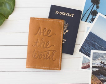 Personalized Embossed See The World Leather Passport Wallet, Passport Cover, Honeymoon Gift, Graduation, Wedding Party  | The Armstrong