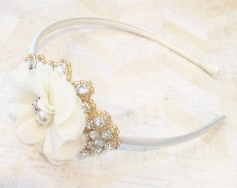 Gold and cream headband,rhinestone headband,flower girl headband,dressy headband,girls headband,childrens headband,hard headband