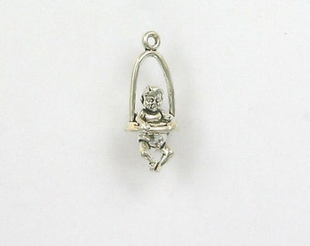 Sterling Silver 3-D Baby in a Jumper Charm